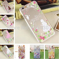 Transparent Princess Girl Ariel Rapunzel Cinderella Belle Cover Cases For Apple iPhone 6 Hard & Soft Case Shell Skin For iphone6
