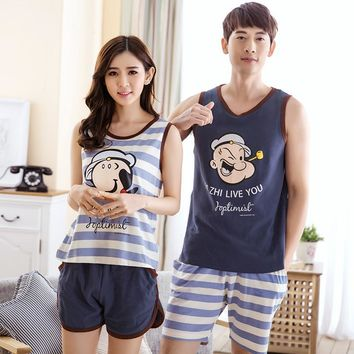 Hot sale couple pajamas set summer men and women sleeveless pyjamas vest lovers sleepwear nightwear home clothing