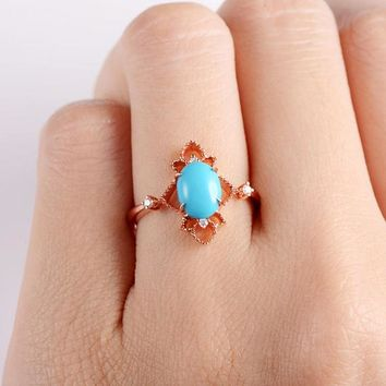 Unique Engagement Ring Rose Gold Oval Cut Turquoise Ring Cluster Ring Flower Star Delicate Multistone Statement Cocktail Thin Geometric Ring