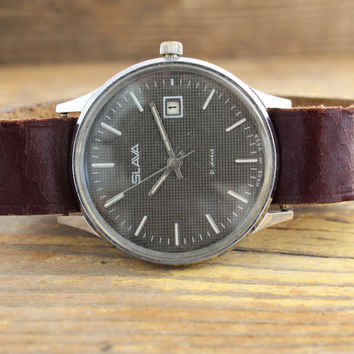 Vintage gray Slava men's watch russian watch ussr ccp soviet watch