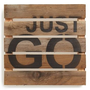 Second Nature By Hand 'Just Go' Wood Wall Plaque