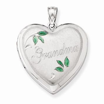 Sterling Silver 24mm Grandma Family Heart Locket