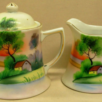Vintage Japan Porcelain Deco China Painted Scene Large Creamer Sugar Bowl & Lid