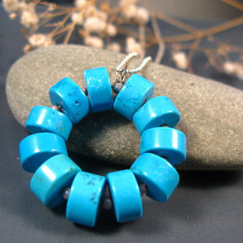 Turquoise necklace, statement jewelry, sterling silver and Turquoise gemstones statement necklace