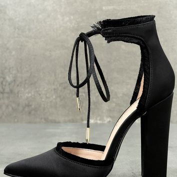 Amalia Black Satin Lace-Up Heels