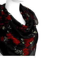 BUY ANY 3 GET 1 OF THEM FREE, large cotton scarf, large square scarf, red black scarf, light soft scarf, summer scarf, pattern scarf, red flowers scarf, blanket scarf,