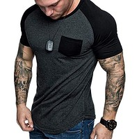 Men Fashion Sport Running Casual Shirt Top Tee