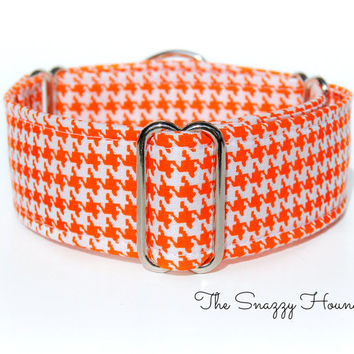 Houndstooth Martingale Dog Collar, Greyhound Martingale collar, whippet collar, whippet martingale, orange martingale, fall dog collar