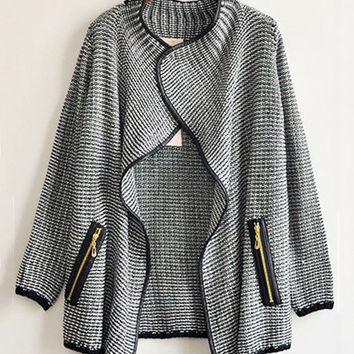 Gray Double Pocket Knitted Cardigan