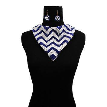 Handmade Embroidered Scarf Necklace Set with Chevron Pattern Blue and White Beads