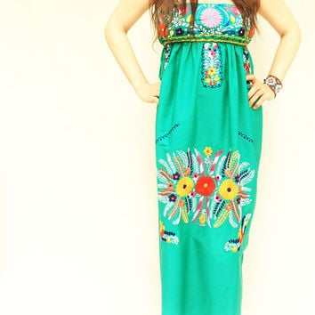 Mexican Embroidered Dress Bohemian Maxi Green Strapless Viva La Vida
