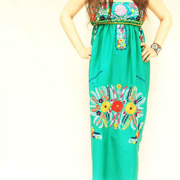Mexican Embroidered Dress Bohemian Maxi Dress Green Strapless Viva la Vida