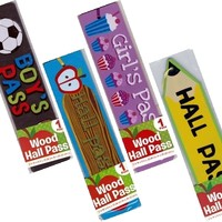 School Teacher Wood Hall Pass (Apple, Pencil, Boy's & Girl's Designs Available)