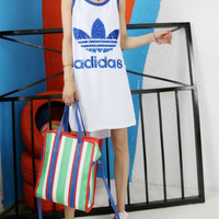"""Adidas"" Fashion Casual Sequin Stitching Clover Letter Print Sleeveless Vest T-shirt Mini Dress"