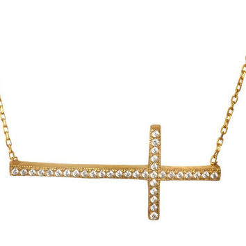 Horizontal .925 Sterling Silver Cubic Zirconia encrusted Sideway Cross Necklace