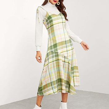 Asymmetrical Hem Plaid Cami Dress