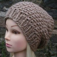 Hand Knit Hat Women's Hat- Hand knitted- slouchy beanie  hat