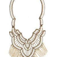 White Beaded Wood Statement Necklace | Calypso St. Barth