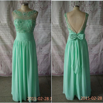 Elegant Boat Neck Mint Chiffon Prom Dresses Beads Sequins Backless Bowknot Long Formal Evening Dress QA046