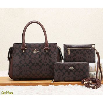 COACH Classic Fashion Women Leather Tote Shoulder Bag Crossbody Satchel Wallet Set Three Piece Coffee