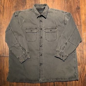 IZOD Gray Heavy Button Up Barn Coat Lined Workwear Chore Jacket Mens Sz XXL 2XL