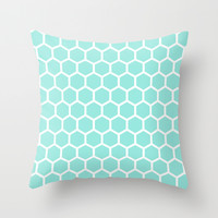Honeycomb Tiffany Blue Throw Pillow by Beautiful Homes