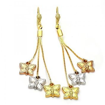 Gold Layered 5.071.002 Long Earring, Butterfly Design, Diamond Cutting Finish, Tri Tone