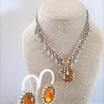Vintage Topaz Necklace Earrings, Drippy AB Rhinestones, Topaz Earrings,  Mad Men Necklace Set