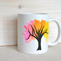 Tree Mug - Pink Orange Yellow Black Tree Coffee Cup - Neon Tree Coffee Cup -Hand Painted Tree Tea Cup - Painting on a Mug - Rainbow Tree Mug