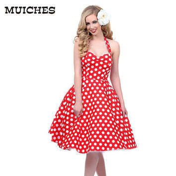 2016 Hot sale Deep V-Neck Polka Dot Swing 50's Housewife Pinup Dress Three color Rockabilly Vintage sleeveless mini Dresses