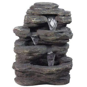 "24"" LED Lighted Multi-Tiered Rock Look Outdoor Patio Garden Water Fountain"