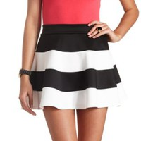 Striped High-Waisted Skater Skirt by Charlotte Russe - Black/White