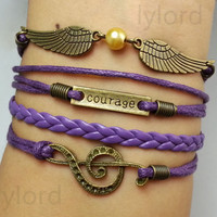 Musical Note & courage , angel wings Bracelet- Wax Cords and Leather Braided Bracelet-Personalized, Friendship gift