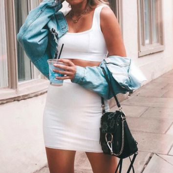 Women's new pit vest bag hip sexy two-piece skirt suit white