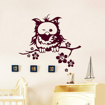 Wall Decals Owl on Branch Childrens Decor Kids Vinyl Sticker Wall Decal Nursery Baby Room Bedroom Murals Playroom - Owl Decor SV6016