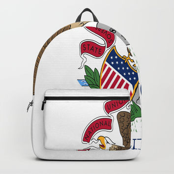 flag illinois,america,usa,midwest,Land of Lincoln,Prairie State,Illinoisan,Chicago,Aurora,Rockford Backpacks by oldking