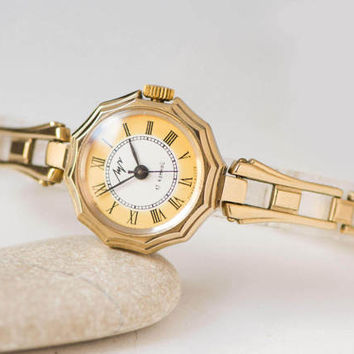 Gold plated women watch bracelet – cocktail watch for woman Ray - party watch gold - woman watch small gift - lady watch modern yellow face