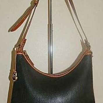 Vintage Dooney and Bourke Black and Tan Leather Handbag Purse Bag Tote AWL