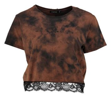 Skyler Bleached Lace Trim Crop Top | Boohoo