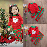 red fall winter xma santa 2pcs infant toddler Baby clothing Girls Kids Christmas Tops +Striped Long Pant Outfit Clothes Set