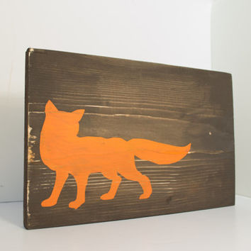 Fox wood sign - Fox home decor, rustic wall art, rustic wood sign, rustic nursery, fox nursery, orange, woodland nursery, cabin decor
