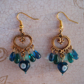 Gold and brass heart peacock dangle earrings - chandelier - antique gold - green - blue - peacock feathers - christmas - white - heart