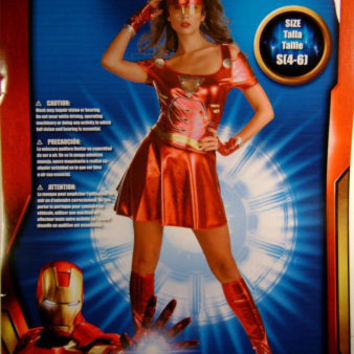 Marvel Ironman 2 Ironette Adult Costume Dress Boot Covers Glovettes Mask