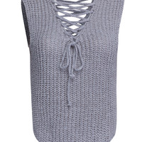 Grey V Neck Lace Up Front Knit Vest