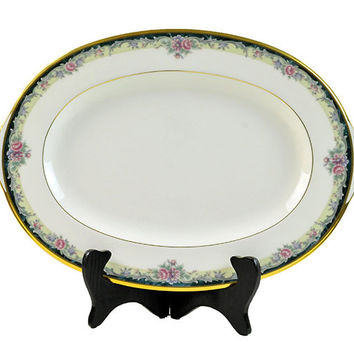 "Noritake Serving Platter Bone China Mi Amor 4717 Small Platter 14"" Gold Trim Black Pink Floral Pattern Like New Unused"