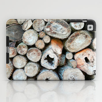 Rustic Beige Brown Logs on Woodpile iPad Case by Brooke Ryan Photography