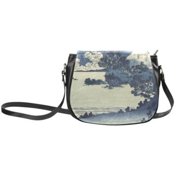 Women Shoulder Bag Blue Japanese Woodcut Scenery Classic Saddle Bag Large