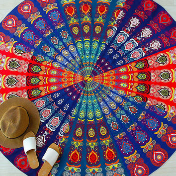 Multicolor Tribal Print Round Beach Blanket
