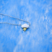 925 sterling silver smooth two- tone weather Necklace,simple sterling silver necklace, A delicate gift