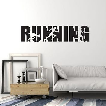 Vinyl Wall Decal Running Word Lettering Runner Room Art Run Stickers Mural (ig5497)